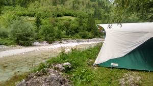 Aan de Soca rivier in Slovenië